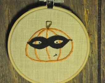 Masked Pumpkin Halloween Embroidery