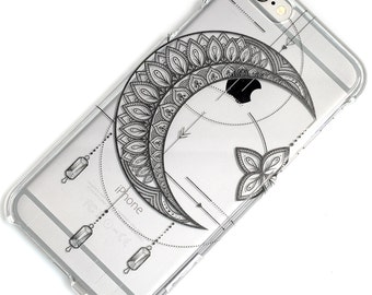 Star Crescent Mandala Moon With Dangles, iPhone Case, Black Ink, Clear Phone Case, iPhone 6, iphone -5, iphone SE, iphone 7, iphone 7 plus