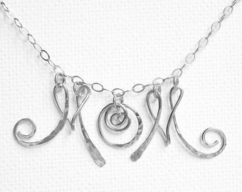 Personalized Mom Necklace Mom Initial Necklace Sterling Silver Mom Necklace Christmas Gifts For Mom Monogram Mom Necklace
