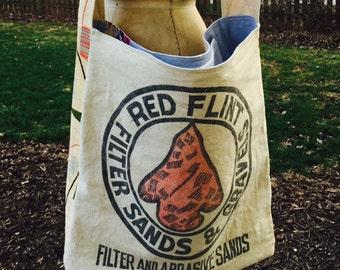 Vintage Grain Sack Tote, Bag, Purse