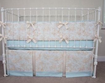 Classic Central Park Toile Baby Boy  Blue and Cream / Ivory Crib Bedding with Bumper
