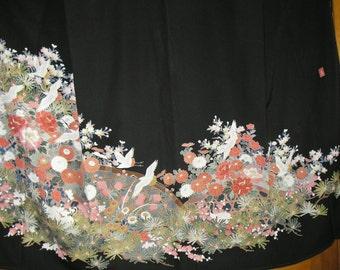 KIMONO ARTIST SIGNED Cranes In Garden Vintage Japanese Silk Tomesode Kimono Cranes Sakura Pines Peonies Incredibly Beautiful Japanese Kimono