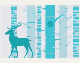 Deer in the Woods Screenprint