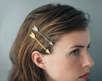 Arrow Bobby Pin- 3D Printed Stainless Steel Hair Accessory- 3""