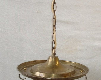 30s 40s Hallway Glass Lamp, Lantern, Brass & Amber Glass, Art Nouveau, Germany