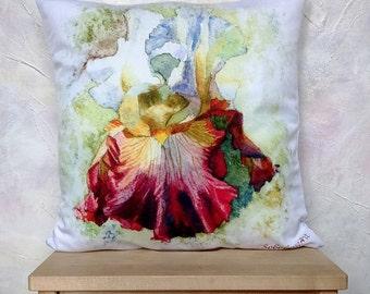 Throw Pillows Iris Home Decor Throw Pillow Pillow Case Cushion Cover Iris Decorative Pillow Burgundy Iris Watercolor garden Pillow Flower