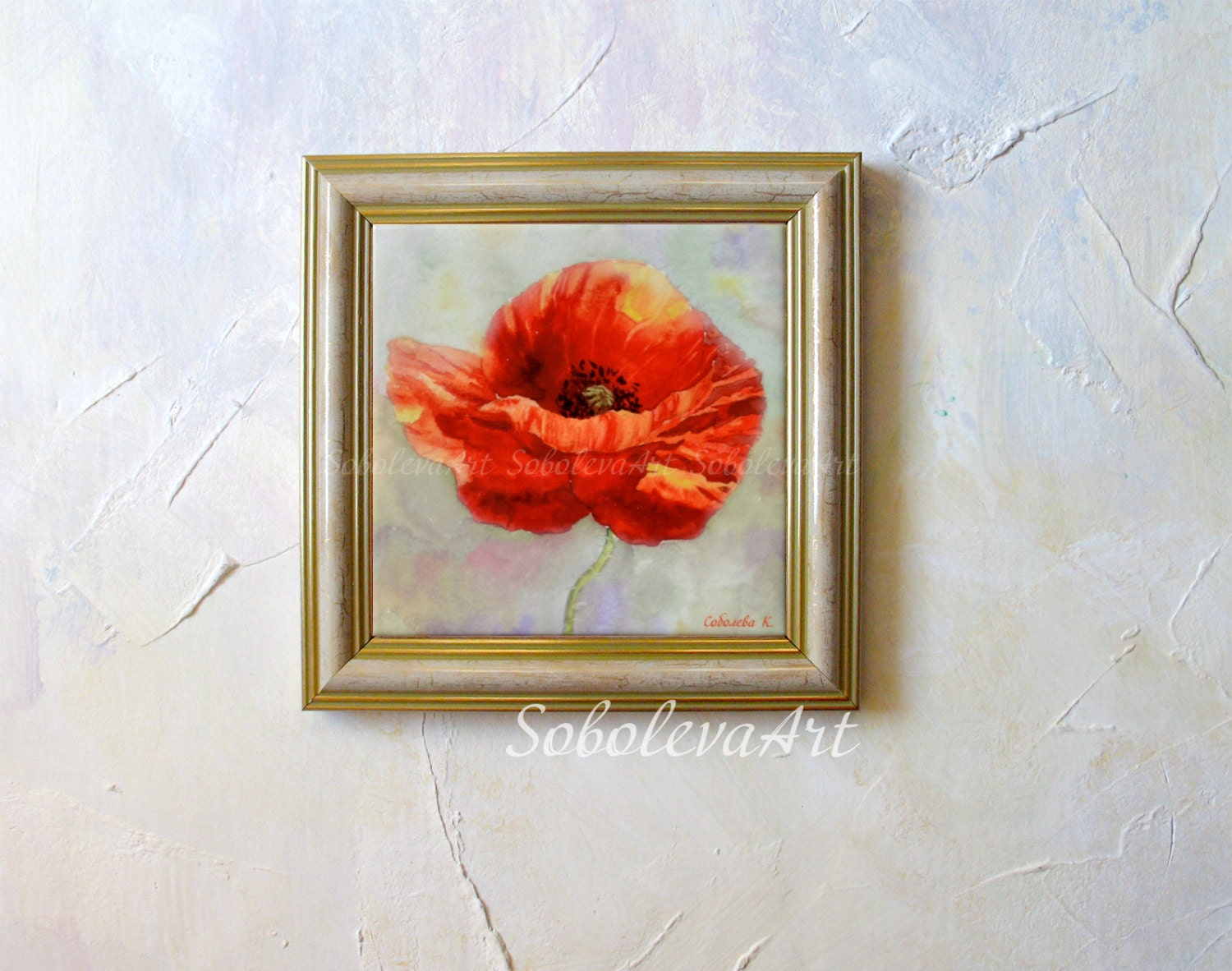 Red poppy painting red poppies hand painted ceramic tile wall art sold by sobolevaart dailygadgetfo Images