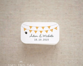 Just Married Bunting Personalized Wedding Favor Gift Tags- Wedding Favor Tags- Thank you tags- Hang tags - Set of 40 (Item code: J243)