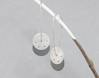 Geometrical minimal dangle earrings, sterling silver, two disc drop long earrings, urban design