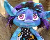 Art Doll. Novalei the Groffle, a plush art troll doll creature