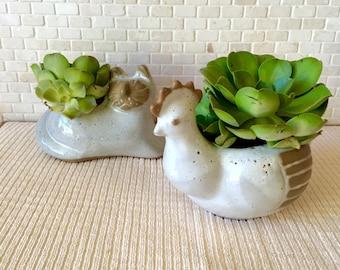 Vintage David Stewart Pottery Speckled Glazed Stoneware Chicken Hen Vase Planter
