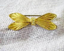 Vintage gold tone and diamante brooch delicate bar pin brooch vintage butterfly bow brooch faux diamonds costume jewelry jewellery Ireland