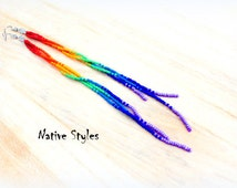 "7.5""Rainbow Shoulder Duster Earrings~Long Seed Beaded Gypsy~Hippie Rainbow~Long Bohemian Style~Colorful Rainbow Dangle~Gay Pride Multicolor"
