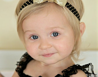 Gold Bow Headband - Gold Glitter Hair Bow - Baby Headband - Black and Gold Headband - Gold Hair Bow - Baby Hair Bow