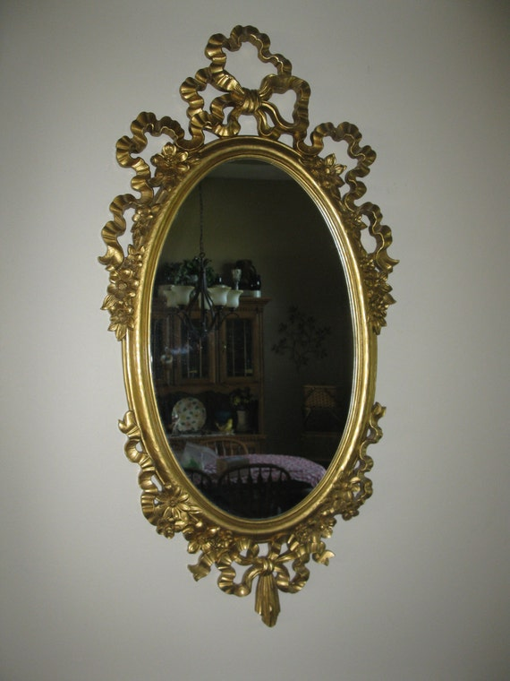 Large Ornate Syroco Wall Mirror Oval Shape Plastic