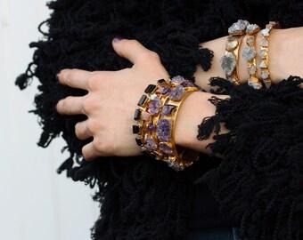 smokey quartz bracelet / smokey quartz bangle / smoky quartz cuff / bangle bracelet / raw stone cuff / gemstone cuff / druzy bracelet