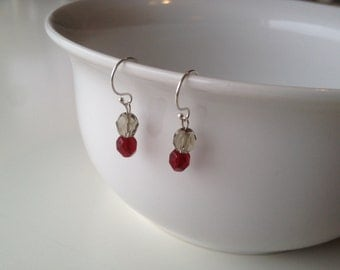 Ohio State Buckeyes Earrings | Scarlet & Gray Glass Beads | Silver