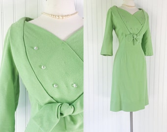 vintage 1950s  lime structured heart bust dress / iridescent buttons / shawl trim bow / 60s green wool pinup / size L