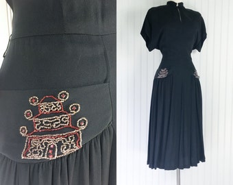 1940s vintage black crepe rayon draped asian style dress / beaded pagoda / red rhinestones / 40s femme fatale / size L XL