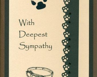 Handmade Greeting Card - Sympathy - Dog - Embellished