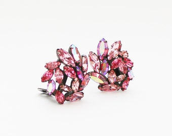 Pink Rhinestone Earrings - Vintage 1950s Light Pink Clip Ons - Rhinestone Clip Earrings