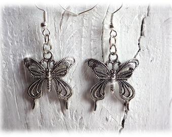 filligree butterflies - butterfly earrings silver boho