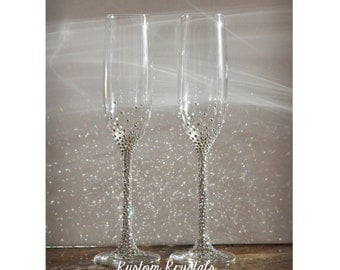 Custom Swarovski Crystal embellished toasting flutes, toasting glasses, Gold, Platinum, Champagne flutes. Personalized.  STEM only.