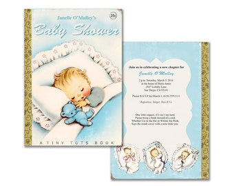 Vintage baby book shower invitation / DIY baby boy printable invitation / editable PDF/ customize it yourself / storybook theme baby shower