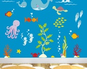Ocean Decal feat. under the sea creatures, Baby Wall Stickers, gender neutral nursery, toddler room decor, Summer  finds, colorful design