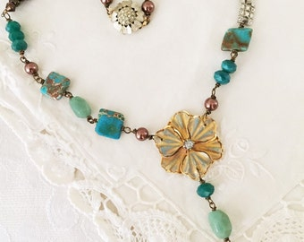 Vintage Rhinestone, Gemstone and Glass Bead One of a Kind Necklace...Floral