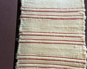 Small Red and White Rug/Wall Hanging with  Fringes