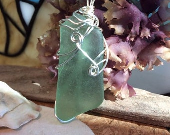 Seaglass Pendant wire wrapped ocean tumbled seafoam green rounded beach wear