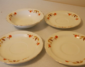 Hall china- Autumn Leaf - 3 saucers - 1 berry bowl