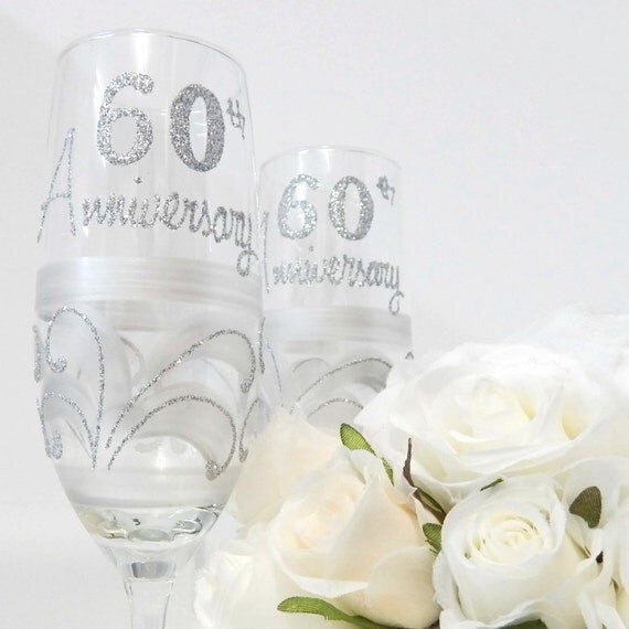 Wedding Gifts For 60th Anniversary : Diamond 60th Wedding Anniversary Champagne Flute Glass Gift ...