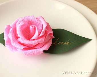 Wedding Paper Place Cards, 12 Table Name Cards, Summer Garden Party Placecards, Rose Escort Cards, Bridal Shower Decor, Paper Decorations
