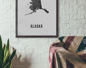 Alaska Map Art Printable, Printable State Map Art, Map Poster, New Year Gift, Rustic, Cozy, Modern Map Art, 5x7 8x10 11x14 16x20, E002