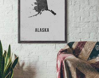 Alaska Map Art Printable, Printable State Map Art, Map Poster, New Year Gift, Christmas Gift, Modern Map Art, 5x7 8x10 11x14 16x20