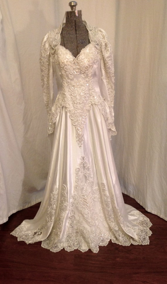 vintage 80s white wedding gown heavily beaded wedding gown sz