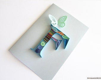 Blue F Monogram Quilling Card, Personalized Quilled Initial Birthday Card, Blank Alphabet Card, Paper Quilling Monogram