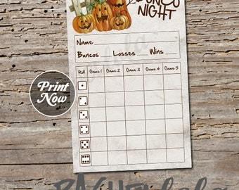 Pumpkin Bunco score card, Halloween, instant download