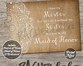 Will you be my bridesmaid, Burlap, digital, instant download