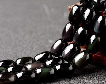 Natural Black Obsidian Beads, Barrel Shape, 15.4 Inch Strand (GO58)