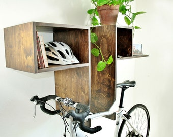 Dark Walnut Finish Bike Abode Bixby Rack - Bike Rack Wall Mount with Shelf Storage
