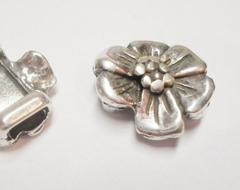 2 Mini Flower Sliders for 5mm flat leather , finding,