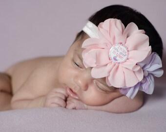 New Baby Headband, Pink Lavender Headband, New Girl in Town, Newborn Photo Prop, Newborn Headband, Baby Shower Gift, Pastel Baby Headband
