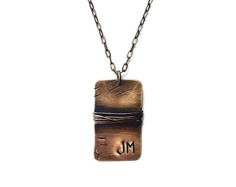 Custom Initials Dog Tag - Rustic Brass Dog Tag - Custom Necklace - Gifts for Him - Personalized Necklace - Men's Jewelry by Modern Out