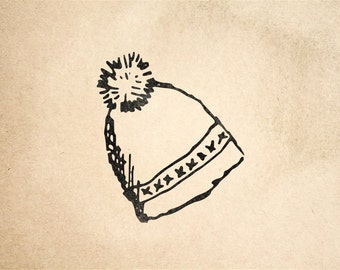 Winter Hat Rubber Stamp - 2 x 2 inches