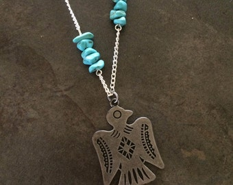 Thunderbird and Turquoise Necklace // Southwestern // Boho // Hippie // Bohemian // Native