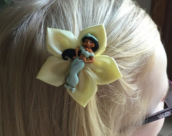 Yellow Jasmine Hair Clip/Hair Bow, Kanzashi, Aladdin, Genie, Magic Carpet Available