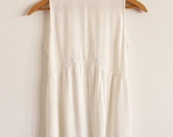 Cream Embroidered Women's Mini Dress